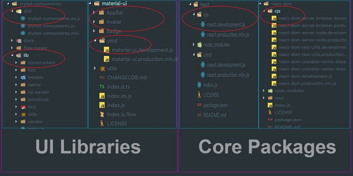 Libraries vs Packages build output comparision
